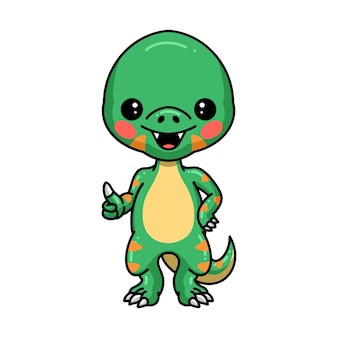 Śliczna mała kreskówka dinozaura dająca kciuk w górę