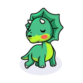 Śliczna mała kreskówka dinozaura triceratopsa daje buziaka