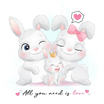 Śliczna mała królik rodzina z akwareli ilustracją