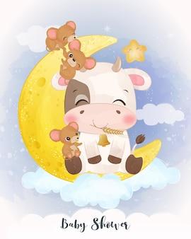 Śliczna mała krowa bawi się małymi myszkami w akwareli ilustracji