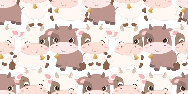 Śliczna mała krowa bez szwu dla tapety z tkaniny dla dzieci i wiele innych