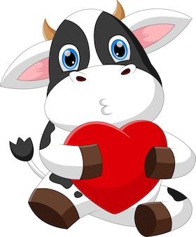 Śliczna mała krowa kreskówka trzymając serce miłość