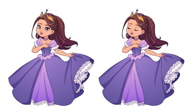 Śliczna mała księżniczka o brązowych włosach i opalonej skórze, ubrana w fioletową sukienkę balową. duża głowa kreskówka. wersje z otwartymi i zamkniętymi oczami. ręcznie rysowane ilustracji wektorowych do wydruków, kart, dzieci gry.