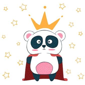 Śliczna mała księżniczka. postacie panda. pomysł na t-shirt z nadrukiem.