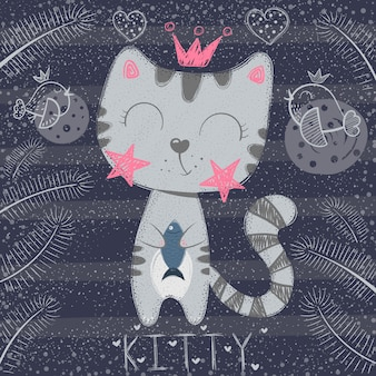 Śliczna mała księżniczka - śmieszny kot