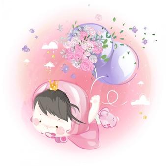 Śliczna mała księżniczka z fioletowymi balonami i kwiatami na jasnym niebie.