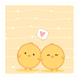 Śliczna mała kurczak pary kreskówki doodle tapeta