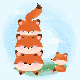 Śliczna mała lisica rodzina