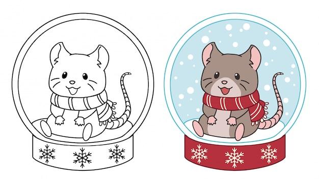Śliczna mała myszka siedzi w kryształowej kuli. konturowa wektorowa ilustracja odizolowywająca na białym tle.