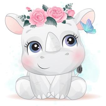 Śliczna mała nosorożec z efektem akwareli