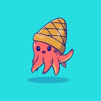 Śliczna mała ośmiornica wektor ilustracja projekt z stożkowym kapeluszem