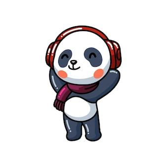Śliczna mała panda słuchająca muzyki z kreskówką na słuchawkach