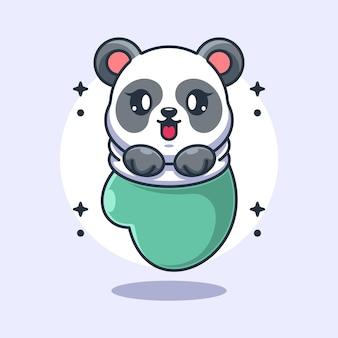 Śliczna mała panda w rękawicy kreskówka