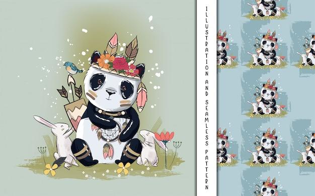 Śliczna mała panda z piórkami ilustracyjnymi dla dzieciaków