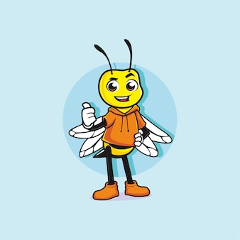 Śliczna mała pszczoła maskotka projekt kciuk w górę
