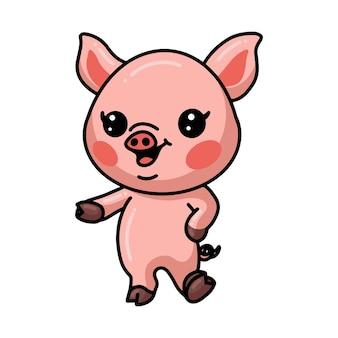 Śliczna mała świnia kreskówka pozowanie