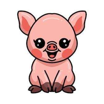 Śliczna mała świnia kreskówka siedzi