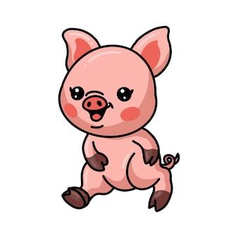 Śliczna mała świnia kreskówka spaceru