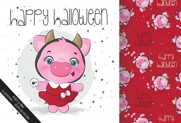 Śliczna mała świnia szczęśliwego halloween z bezszwowym wzorem