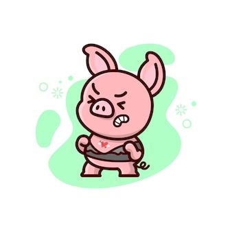 Śliczna mała świnka rozerwana z tee. walentynki