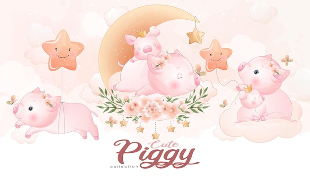 Śliczna mała świnka z zestawem ilustracji akwarela