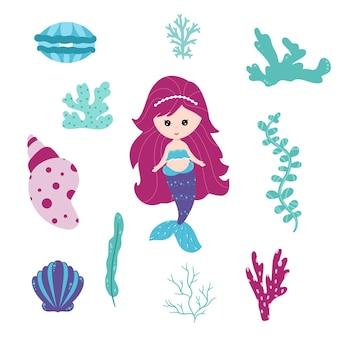 Śliczna mała syrenka i podwodny świat. wektor ładny zestaw. małe syreny i elementy morskiego świata, algi, koralowce, muszle, perły, rośliny. mityczna kolekcja morska. styl kreskówki.