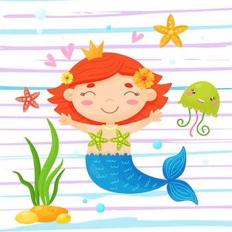 Śliczna mała syrenka otoczona rozgwiazdą i meduzą