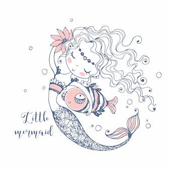 Śliczna mała syrenka z rybą. doodle styl.