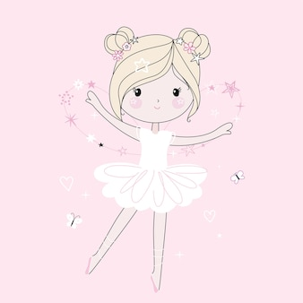 Śliczna mała tańcząca dziewczyna. modny styl, nowoczesne pastelowe kolory.