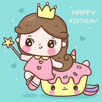 Śliczna mała wróżka księżniczki siedzi na jednorożcu babeczka kreskówka urodziny kawaii zwierzę