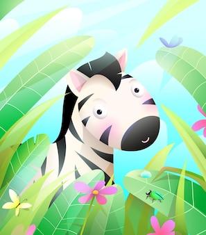Śliczna mała zebra ukrywająca się na sawannie w trawie i liściach kolorowa ilustracja do pokoju dziecięcego dla dzieci