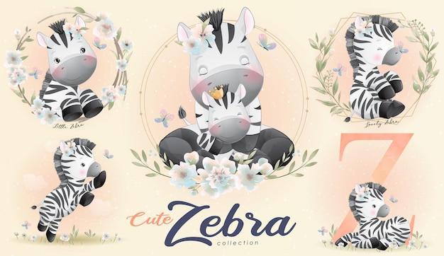 Śliczna mała zebra z zestawem ilustracji akwarela