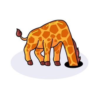 Śliczna mała żyrafa kreskówka chowa głowę w otworze