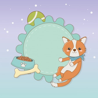Śliczna małego psa maskotka z naczyniem i kością