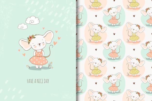 Śliczna małej dziewczynki mysz w ręka rysującej stylowej ilustraci. dziewczęca powtarzające się tło i karta