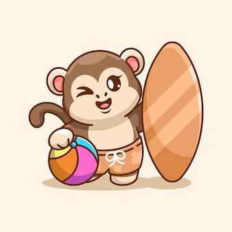 Śliczna małpa ikona ilustracja lato