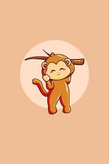 Śliczna małpa ilustracja kreskówka zwierzę