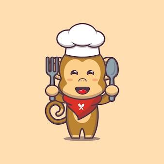 Śliczna małpa ilustracja postaci kucharza