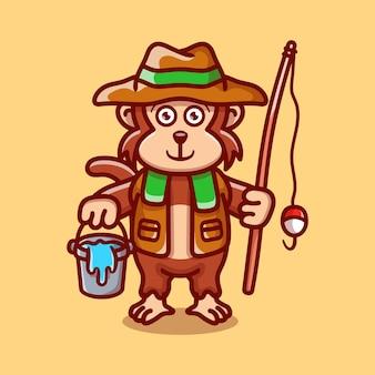Śliczna małpa ilustracja rybak ilustracja kreskówka