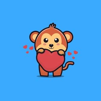 Śliczna małpa kreskówka przytulić miłość serce kawaii zwierzę