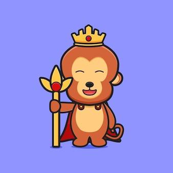 Śliczna małpa król ikona ilustracja kreskówka. zaprojektuj na białym tle płaski styl kreskówki