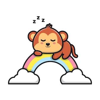 Śliczna małpa śpi na ilustracji kreskówki tęczy