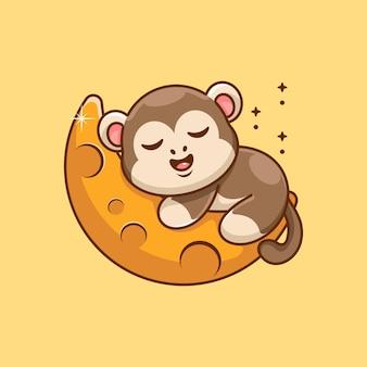 Śliczna małpa śpiąca na kreskówce księżyca