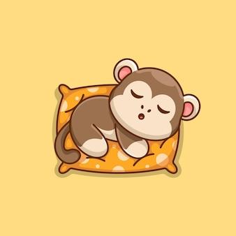 Śliczna małpa śpiąca na poduszce kreskówka