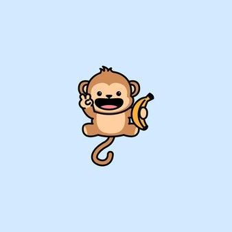Śliczna Małpa Trzyma Kreskówka Banana Premium Wektorów