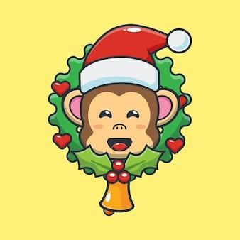 Śliczna małpa w boże narodzenie śliczna świąteczna ilustracja kreskówka