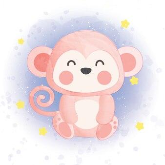 Śliczna małpa w galaktyce w kolorze wody.