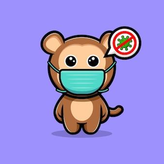 Śliczna małpa w masce do zapobiegania wirusowi kreskówka maskotka