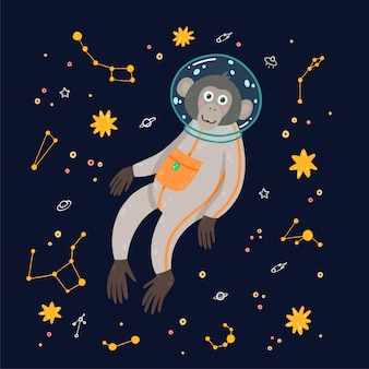 Śliczna małpa w przestrzeni. małpa w kosmosie otoczona gwiazdami.