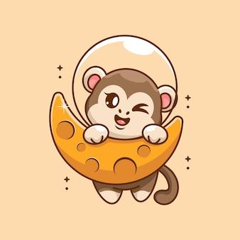 Śliczna małpa wisząca na kreskówce księżyca